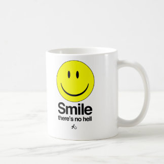 Smile there's no hell classic white coffee mug
