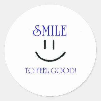 smile to feel good classic round sticker