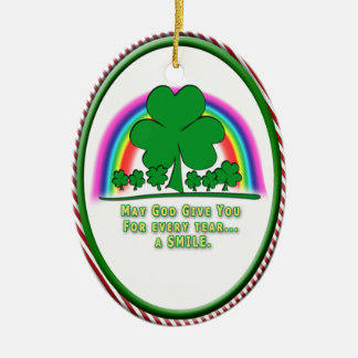 SMILE to REPLACE TEARS - IRISH BLESSING Christmas Tree Ornament