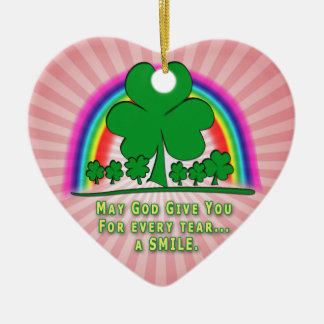 SMILE to REPLACE TEARS - IRISH BLESSING Christmas Tree Ornaments