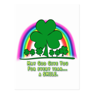 SMILE to REPLACE TEARS - IRISH BLESSING Postcard