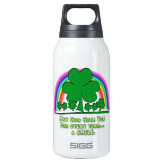 SMILE to REPLACE TEARS - IRISH BLESSING 10 Oz Insulated SIGG Thermos Water Bottle