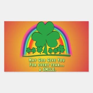 SMILE to REPLACE TEARS - IRISH BLESSING Rectangular Sticker