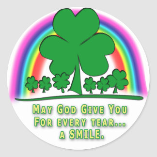 SMILE to REPLACE TEARS - IRISH BLESSING Round Stickers