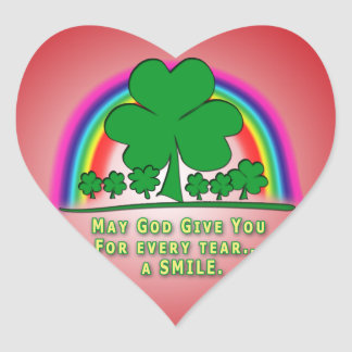 SMILE to REPLACE TEARS - IRISH BLESSING Heart Stickers