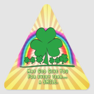 SMILE to REPLACE TEARS - IRISH BLESSING Triangle Stickers