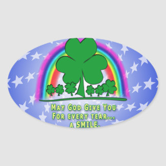 SMILE to REPLACE TEARS - IRISH BLESSING Oval Sticker
