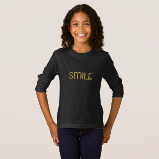 Smile Typography Gold Text Be Happy Shirt