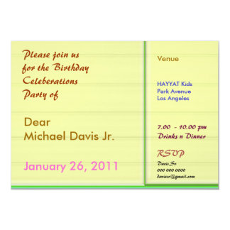 Smile Yellow n Green Border with Sample Text 5x7 Paper Invitation Card