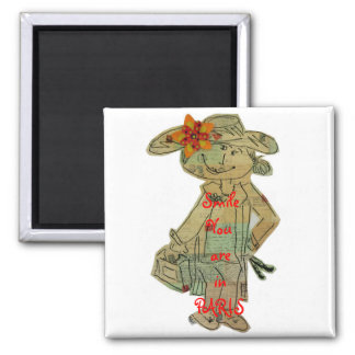 SMILE YOU ARE IN PARIS 2 INCH SQUARE MAGNET