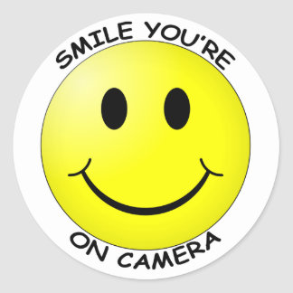 Smile You re On Camera Round Sticker Stickers