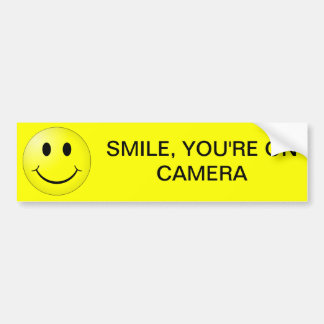 SMILE, YOU'RE ON CAMERA BUMPER STICKER