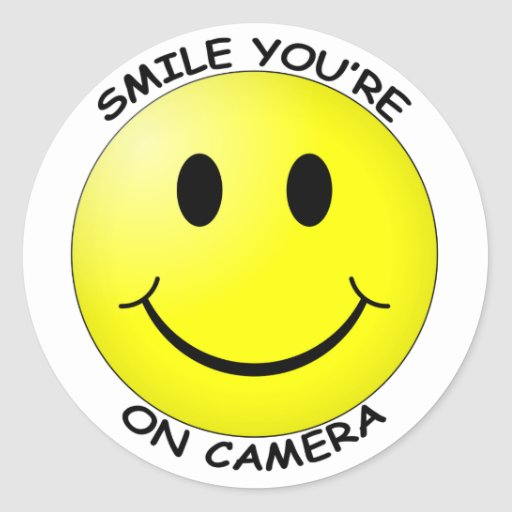 Smile You're On Camera Round Sticker Stickers