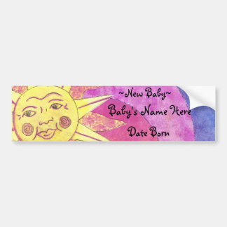 smilely sun new baby bumpersticker bumper sticker