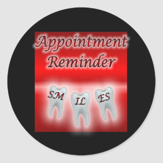 Smiles Appointment Reminder Classic Round Sticker