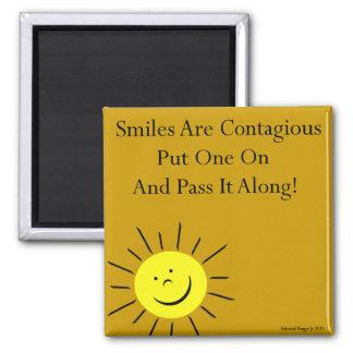 Smiles Are Contaigous! 2 Inch Square Magnet