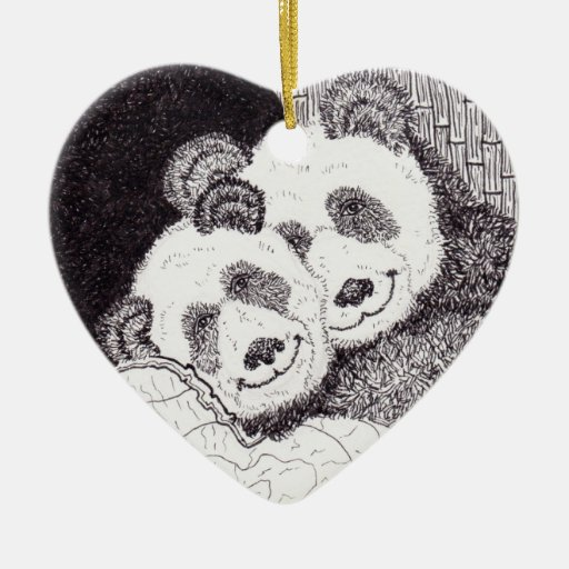 Smiles & Hugs Panda Heart Ornament