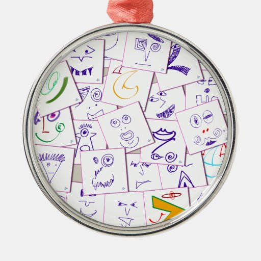 smiles_sketch round metal christmas ornament