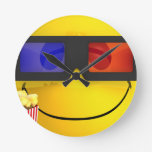 Smiley 3d glasses and popcorn round wall clocks