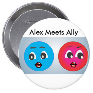 Smiley Alex And Ally Fearing. Pinback Buttons