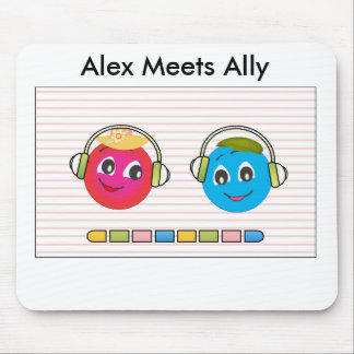 Smiley Alex And Ally Listening To Music Mouse Pad