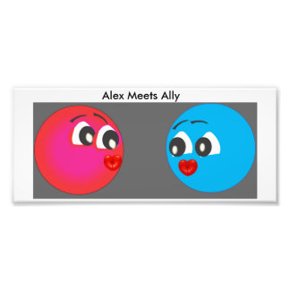 Smiley Alex And Ally With Kissing lips Photo Print