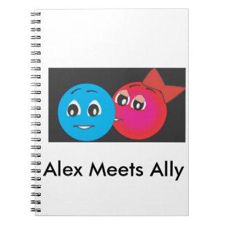 Smiley Ally Kissing Alex. Notebook