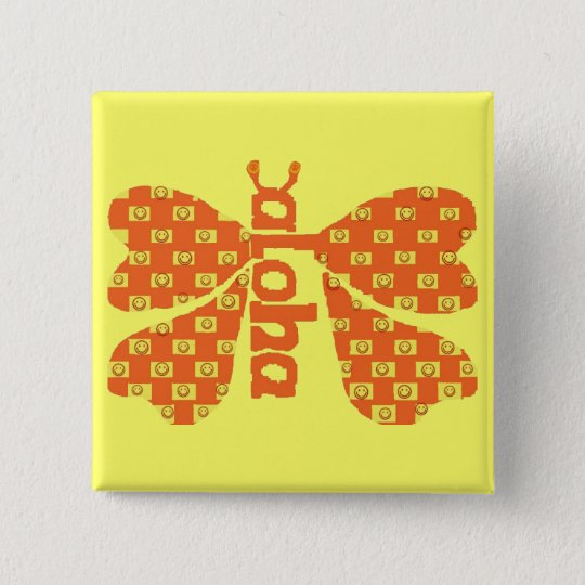 Smiley Aloha Butterfly button