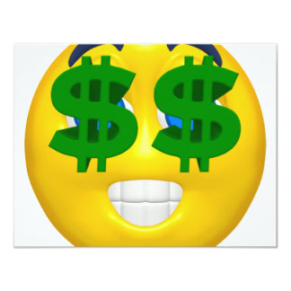 """smiley amarillo con los ojos del dinero invitación 4.25"""" x 5.5"""""""