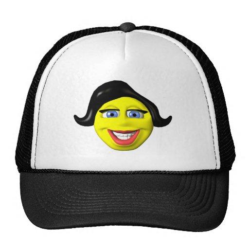 Smiley amarillo de la cara del chica gorros bordados