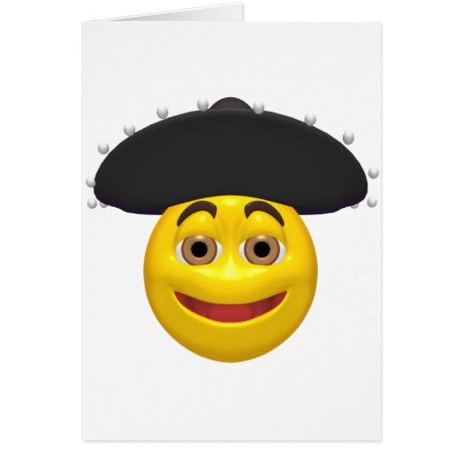 Smiley amarillo feliz que lleva un gorra mexicano felicitación