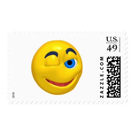 Smiley amarillo que está guiñando sello