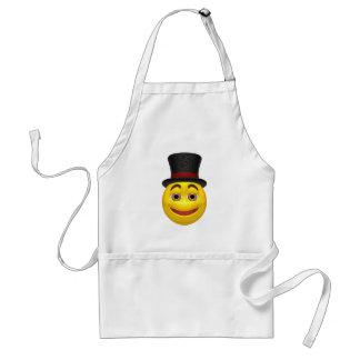 Smiley amarillo que lleva un sombrero de copa delantal