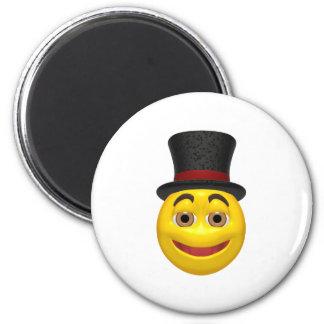 Smiley amarillo que lleva un sombrero de copa imán para frigorífico