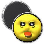 Smiley amarillo que pega hacia fuera el tounge imán de frigorifico