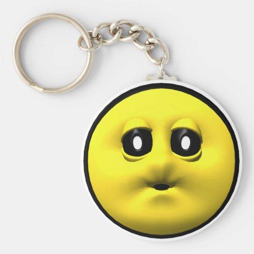Smiley amarillo que sopla un beso llavero personalizado