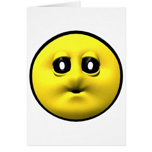 Smiley amarillo que sopla un beso tarjetas