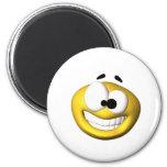Smiley amarillo torpe imán para frigorífico