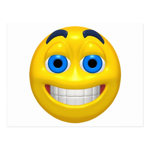 Smiley amplio del amarillo del ojo postales