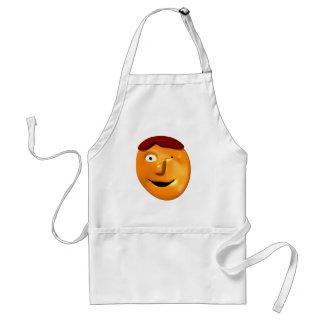 Smiley anaranjado de la cara que le da un guiño delantales