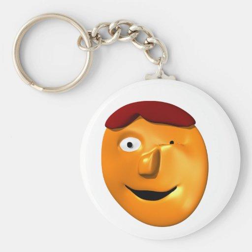 Smiley anaranjado de la cara que le da un guiño llavero redondo tipo pin