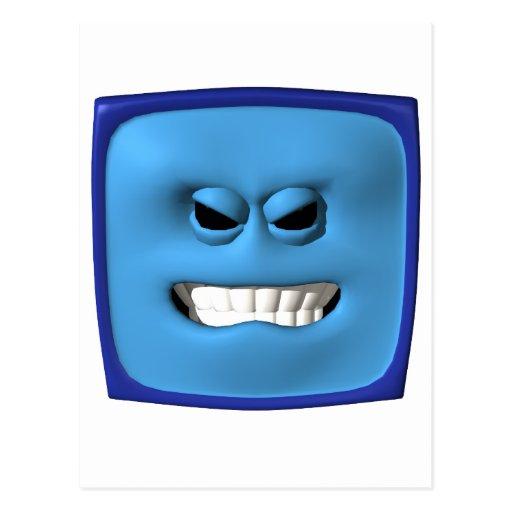 smiley angy azul postal