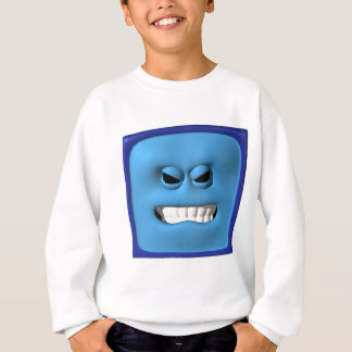 smiley angy azul remera