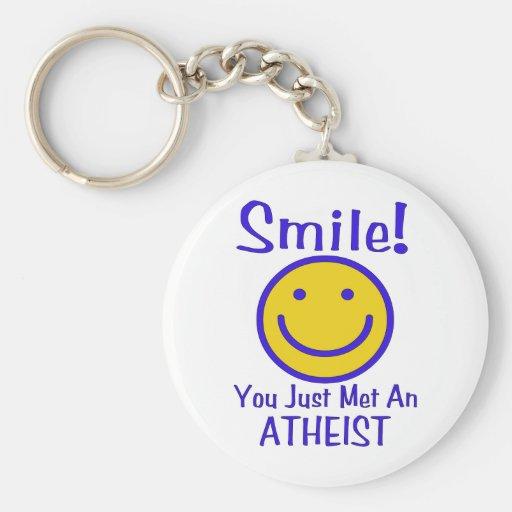 Smiley ateo llavero redondo tipo pin
