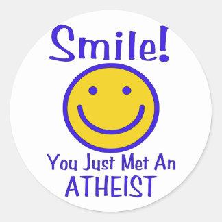 Smiley ateo pegatina redonda