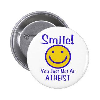 Smiley ateo pin redondo de 2 pulgadas