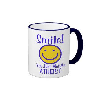 Smiley ateo taza de dos colores