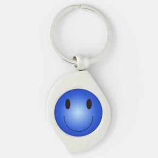 Smiley azul llavero plateado en forma de espiral