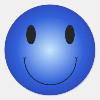 Smiley azul pegatina redonda