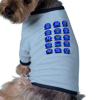 Smiley azul camiseta de perro